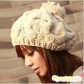 韩版冬帽保暖手工毛线帽